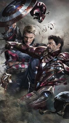 Alexander Lozano, one of the best cover artists working for Marvel, created one of the greatest piece of art you will ever see, featuring Captain America and Iron Man fighting to the death. Marvel Dc Comics, Marvel Fanart, Heros Comics, Films Marvel, Marvel Vs, Marvel Heroes, Captain Marvel, The Avengers, Stark Tower