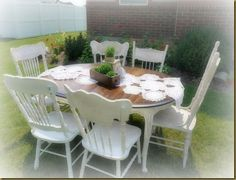 Red Hen Home:  French Country dining set.  6 mismatched pressed-back chairs