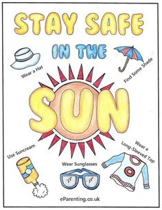 Free printable Sun Safety colouring picture. A free printable colouring picture for you to print - Stay Safe in the Sun