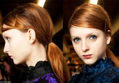 Trendy hair style for FW 2015: Ponytail. Side swept   bang  with bobby pin, low back ponytail hairstyle at Erdem fall winter 2015.