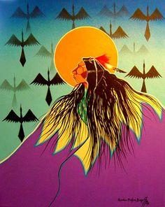 "Native American Indians **Quanah Parker Burgess** (Comanche) - ""Water Bird Sky"""