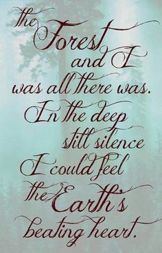 """""""In the deep still silence I could feel the Earth's beating heart"""""""