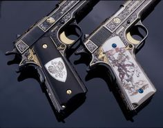 The White and Black Knights, two US Colt M1911 A1 .45 Autos engraved by Mike Dubber.