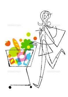 ショッピングカートをおす女性 (c)Formmart