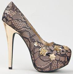 Qupid PENELOPE-13 Platform High Heel Stiletto Lace Floral Embellished Pump