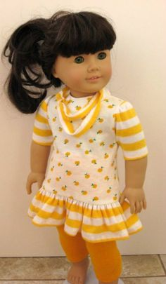 American Girl Doll Clothes 3 pc Dress (tunic), Leggings & Scarf by ILuvmCreations on Etsy