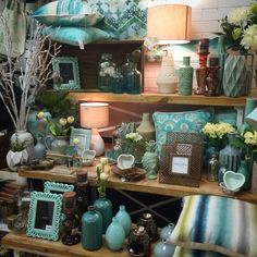 New minty Aqua display. Shop display at Lavish Abode June 2015