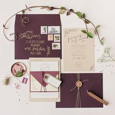 Olive, Mulberry and Gold Wedding Inspiration - wedding invitations. #weddinginvitations