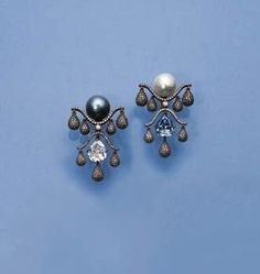 A PAIR OF EXQUISITE DIAMOND AND PEARL EAR-PENDANTS, BY JAR