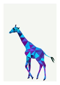 Hurring geometric giraffe in blue-and-violet colors tattoo design - Tattooimages. Geometric Drawing, Geometric Art, Geometric Animal, Origami Giraffe, Polygon Art, Color Tattoo, Love Art, Art Drawings, Street Art