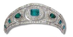 Emerald and Diamond Kokoshnik tiara Royal Crowns, Royal Tiaras, Tiaras And Crowns, Harlem Renaissance, Art Deco Jewelry, Fine Jewelry, Royal Jewelry, Circlet, Crown Jewels