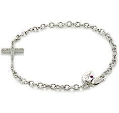 Buy Kristian Alfonso Sterling Silver & Rhodium Plate Double Sided Gemstone Cross Bracelet, Kristian Alfonsoand Bracelets from The Shopping ...