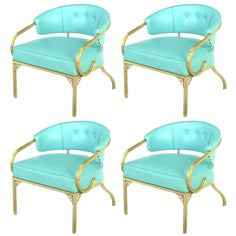 John Van Koert for Troy Sunshade Cymbal Collection Gold & Turquoise Lounge Chairs , ca.1950's