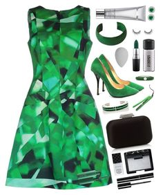 """Green mood"" by nataliyabay ❤ liked on Polyvore featuring Oscar de la Renta, Jimmy Choo, NOVICA, Adolfo Courrier, Pamela Love, NARS Cosmetics, Gucci, beautyblender, Chanel and MAC Cosmetics"