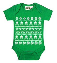 Fair Isle Skull Ugly Sweater Kelly Green & White Christmas Onesie from My Baby Rocks -  more holiday gift ideas for babies at  www.punkbabyclothes.net