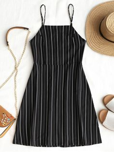 Drawstring Striped Open Back Mini Dress. Femme and flirty lightweight mini slip dress designed on the hottest striped pattern throughout, features a barely-there open back in a drawstring closure, adjustable shoulder straps and it's a super sweet minimal slip style. Team it with tonal sandals or heels to go out for a summer date. #Zaful #Dress