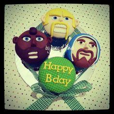Clash of the Clans Cupcakes Birthday Treats, Birthday Parties, Cupcake Cookies, Cupcakes, Clash Of Clans, Cupcake Ideas, Christmas Ornaments, Holiday Decor, Happy