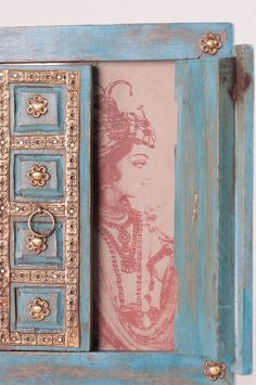 Old Indian Doors Picture Frame with Opening Doors – Ian Snow Ltd Clay Wall Art, Clay Art, Door Picture Frame, Window Frame Decor, Glass Painting Patterns, Rajasthani Art, Wooden Painting, Indian Doors, Puja Room