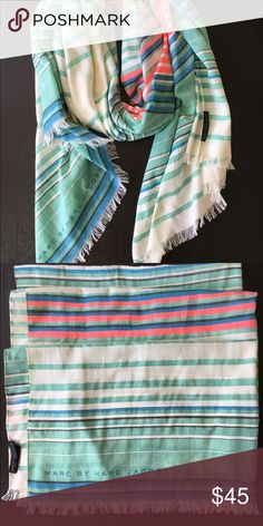 """Marc by Marc Jacobs Scarf Marc by Marc Jacobs scarf with fringe at the end.  In perfect condition, only worn once.  Stripes are mint green, black, cream, cerulean blue and bright pink.  Material is a blend of cotton and polyester so its ver airy and light weight.  Dimensions: 32"""" x 80"""" Marc by Marc Jacobs Accessories Scarves & Wraps"""