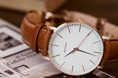 BRATHWAIT - The classic slim wrist watch: Handmade Italian calf leather strap
