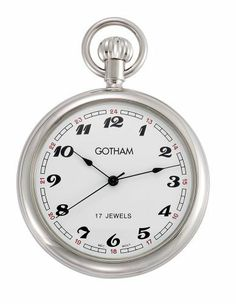Gotham Men's Classic Silver-Tone 17 Jewel Mechanical Pocket Watch # GWC14048S Gotham. $59.95. Large polished 51mm case with scratch resistant mineral glass crystal. Arrives with deluxe draw string pouch and gift box, Selvyt polishing cloth, operating instructions and lifetime limited warranty card. Rich white dial with black Arabic numbers and hands. Classic and elegant silver-tone reproduction style 17 jewel mechanical pocket watch perfect for engraving. Includ...