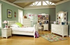 Summer Breeze Cottage Off White 4pc Kids Bedroom Set w/Twin Sleigh Bed