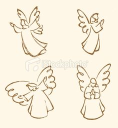 View top quality illustrations of Angel Sketch Set. Find premium, high-resolution illustrative art at Getty Images. Christmas Nativity, Christmas Angels, Christmas Art, Christmas Ornaments, Angel Sketch, Angel Drawing, Angel Art, Free Vector Art, Rock Art