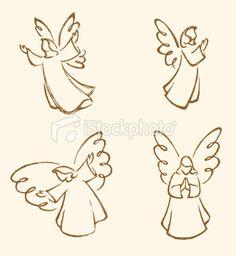 Angel Sketch Set Royalty Free Stock Vector Art Illustration