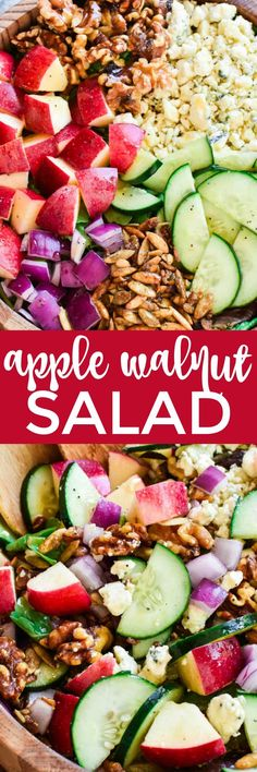 This Apple Walnut Salad is the ultimate salad for fall! Loaded with fresh apples, crisp cucumber, crunchy walnuts, toasted pumpkin seeds, gorgonzola cheese, and sweet honey poppy seed dressing....this salad is the perfect balance of savory, sweet, crunchy, and SO delicious.