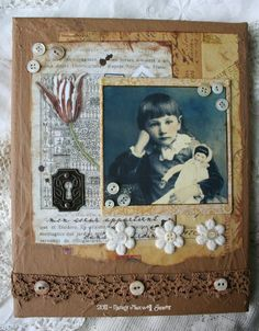 Heritage Look Scrapping Page...with lace & buttons.