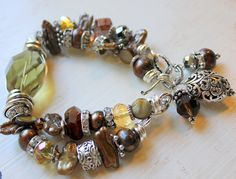 fall in bloom citrine wire wrapped heshi pearl golden crystal pandora statement charm bracelet