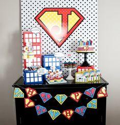 super hero party dessert table