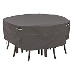 Classic Accessories Ravenna Round Patio Table and Chair Cover – Premium Outdoor Furniture Cover with Durable and Water Resistant Fabric, Large, Taupe (55-158-045101-EC)