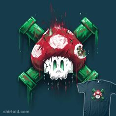 """Mushroom Skull"" by A Super Mario Bros inspired version of a skull and crossbones featuring a super mushroom and warp pipes. Pac Man, Mortal Kombat Art, Super Mario Art, Geek Shirts, Gaming Tattoo, Dark Images, Hypebeast Wallpaper, Comic Games, Skull Tattoos"