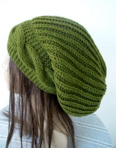 Hand Knit Hat- Womens hat -  Slouchy Beanie    Winter  Hat   Fall Winter Accessories  beret in Olive Green  Autumn Fashion