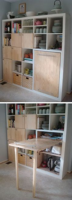 Pull out counter top for kitchen storage, http://hative.com/clever-kitchen-storage-ideas/