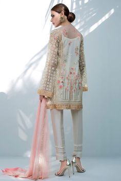 Indian Net Sequins Embroidered Shirt