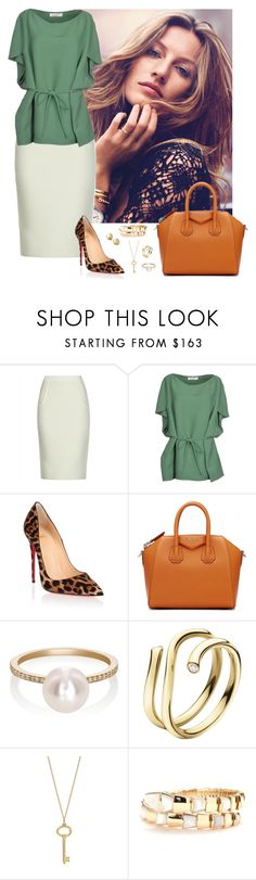 """""""Work wear #16"""" by rafieldshow ❤ liked on Polyvore featuring Jaeger, Valentino, Christian Louboutin, Givenchy, Sophie Bille Brahe, Georg Jensen, Tiffany & Co., Bulgari, Marco Bicego and WorkWear"""