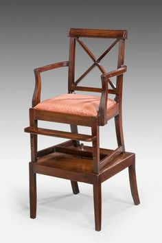 """A good George III period mahogany Child's Chair on an original stand, the """"X"""" frame back with fine reeded uprights, the arms en-suite, square section supports involving a foot rest. 1800 Ref 6118 Georgian Furniture, Antique Furniture, Windsor House, Cabinet Makers, Happy Colors, Foot Rest, Period, 18th, Furniture Design"""