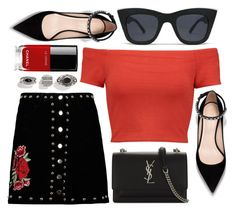 """Picture Perfect"" by smartbuyglasses ❤ liked on Polyvore featuring Alice + Olivia, Boohoo, Quay, Yves Saint Laurent, Chanel, black and red"