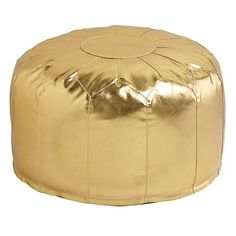 Faux Leather Gold Pouf - Land Of Nod Poufs & Floor Pillows - Kids & Baby Furniture, Bedding and Toys Gold Kindergarten, Leather Pouf, Leather Seats, Leather Cover, Metallic Leather, Boho, Gold Nursery, Window Seats, Bricolage Noel