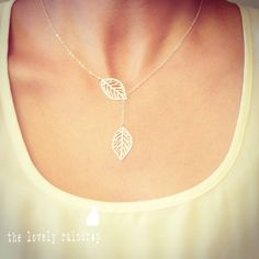 Leaf Lariat Petite - silver grey white small delicate leaf pendants - sterling silver chain - Wedding Jewelry - Bridal - Dainty Small by thelovelyraindrop on Etsy