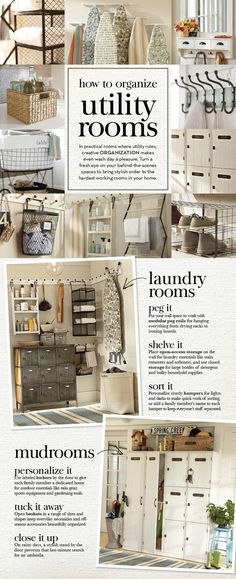 Laundry room..... How to Organize Utility Rooms | Pottery Barn- I would love for my laundry room/mud room to look like this, but really, who want to go out and buy matching EVERYTHING? Seriously, I use the bottles my cleaners come in, call me lazy, but the idea of putting all of my stuff in neutral bottle is a little too OCD for me.