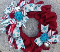 Red White & Teal Christmas Wreath Red Burlap by TheRuffledPage