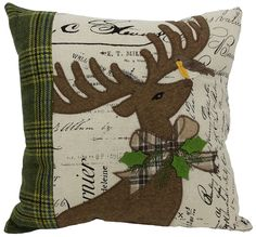 Reindeer with Applique Suede Throw Pillow