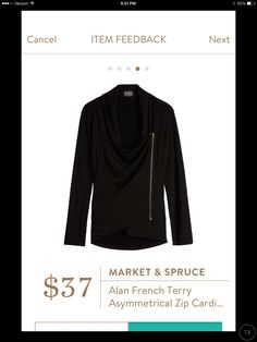 This is adorable for fall, I love the way it hangs when unzipped.  Market & Spruce Alan French Terry Zip Cardigan
