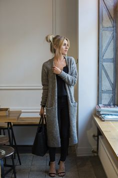 & Other Stories Long Mohair-Blend Cardigan grey