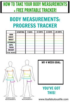 How To Take Your Body Measurements Free Printable Tracker Measurement Best Weight Loss