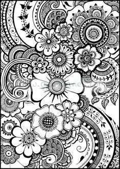 Paisley Coloring Pages, Adult Coloring Book Pages, Doodle Coloring, Flower Coloring Pages, Colouring Pages, Coloring Sheets, Coloring Books, Pattern Coloring Pages, Mandala Coloring Pages