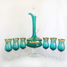 Vintage Italian Aqua & Cranberry Murano Blown Glass Cordial Liqueur Decanter Set